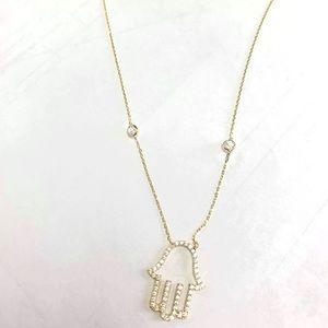 Evil eye hamsa necklace 14kt gold